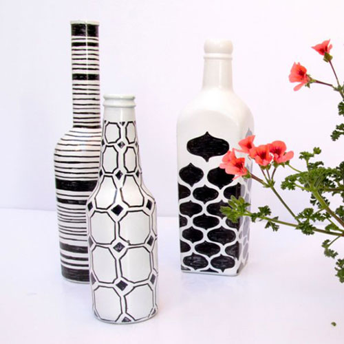 white and black wine bottle