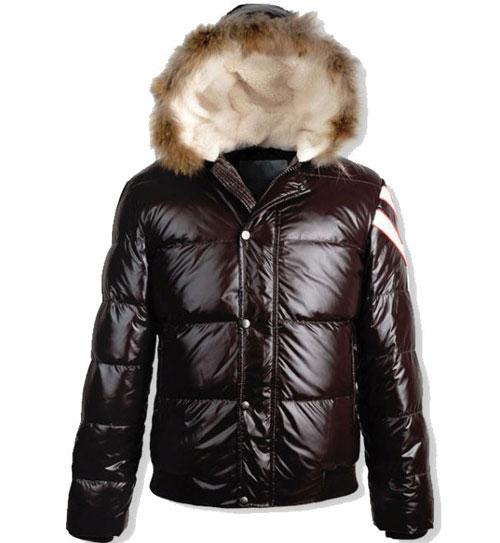 Moncler Alpes Men Fur Down Jacket Brown